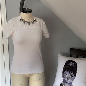 Zara white round neck beaded top